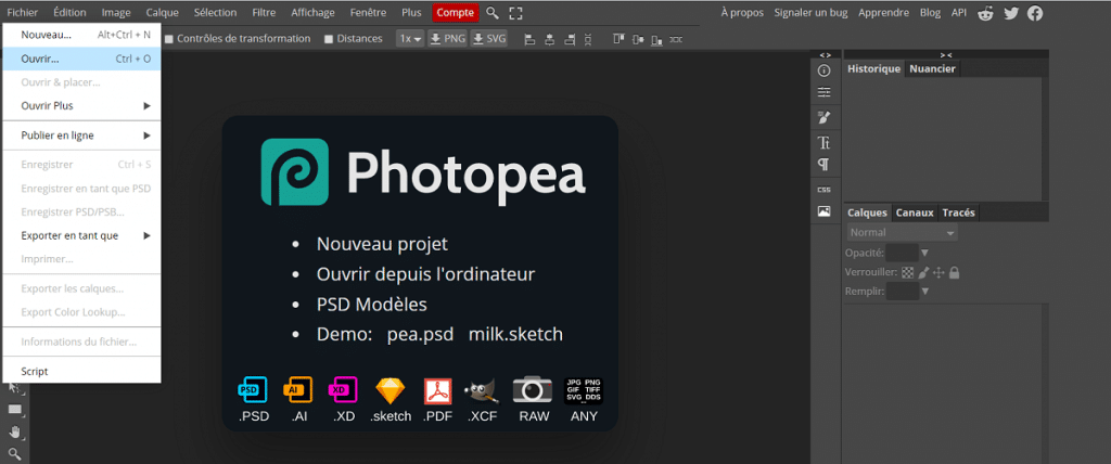 Comment ajouter une image sur Photopea ?